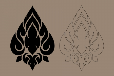 thai style: Thai Art Modern Design New Style Illustration Black Color and Out Line Number 1 Illustration