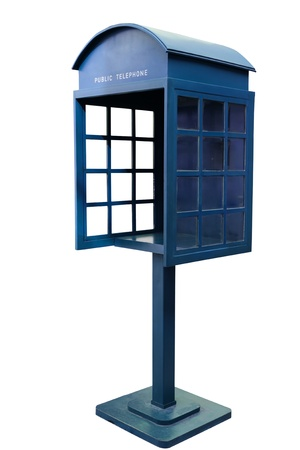 phonebooth: Blue Antique phone booth on White Background With Path