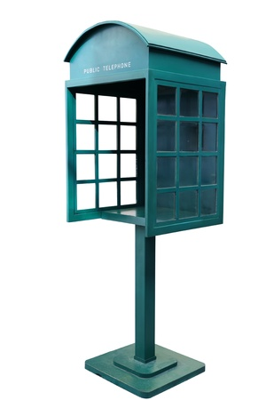 antique booth: Green Antique phone booth on White Background With Path