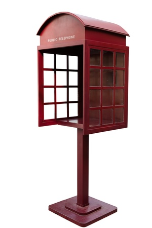 phonebooth: Red Antique phone booth on White Background With Path