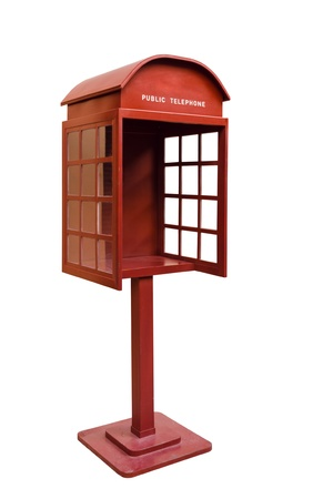 antique booth: Right Red Antique phone booth on White Background With Path