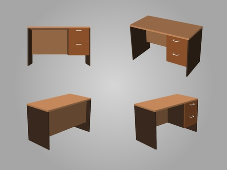 home office desk: Four View of Brown tone office table made from wood Illustration