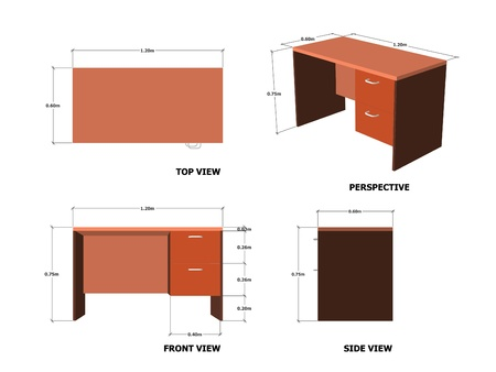 dimensions: Office Table Plan Front Side Perspective View With Dimension