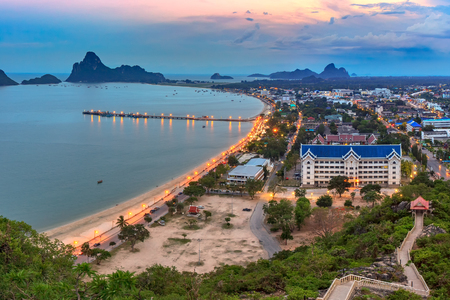 province: Landscape sunrise view of Ao Manao bay in Prachuap Khiri Khan, Thailand Stock Photo