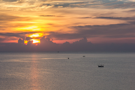 industry moody: Landscape sunrise view of Ao Manao bay in Prachuap Khiri Khan, Thailand Stock Photo