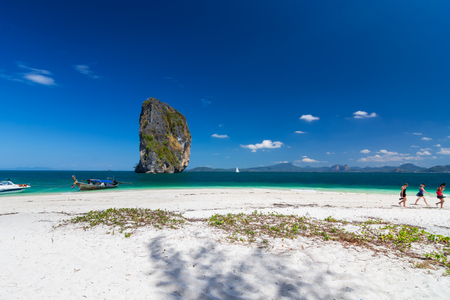 Beautiful White sand beach at Phi Phi Island , Krabi , Thailand