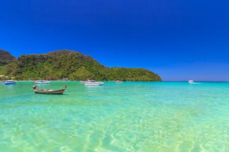 Sand of Beach tropical sea with blue sky   at Phi Phi Island, Krabi , Thailand
