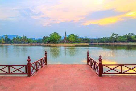 Beautiful sunset at Sukhothai historical park in Thailand