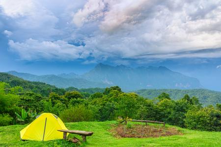 Camping Tents and Flower with Doi Luang Chiang Dao at Doi Mae Ta man ,Chiang Mai ,Thailand