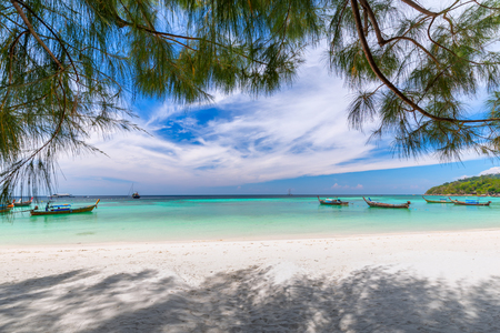beautiful white beach with tree tropical sea for holidays and relaxation in lipe island thailand