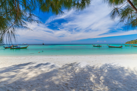 beautiful white beach with tree tropical sea for holidays and relaxation  in lipe island thailand Stock fotó