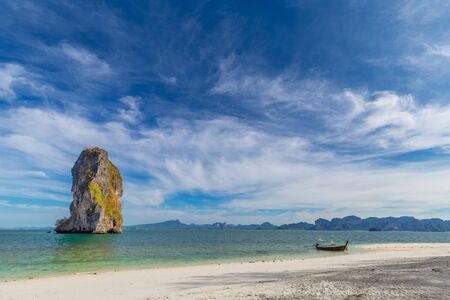 Poda island,beautiful white beach with tree tropical sea for holidays and relaxation  in krabi,thailand Stock fotó