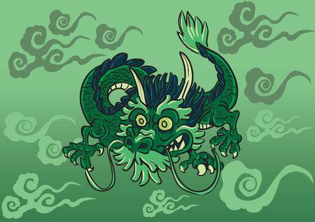 green dragon: Green dragon flying over cloud Illustration