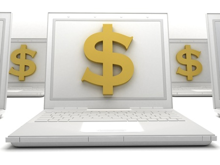Labtop Money Stock Photo - 16992849