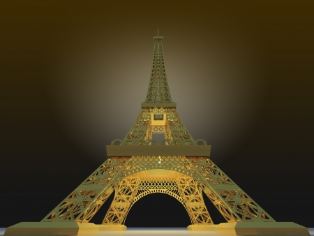 Effel Gold Concept 3d Render photo