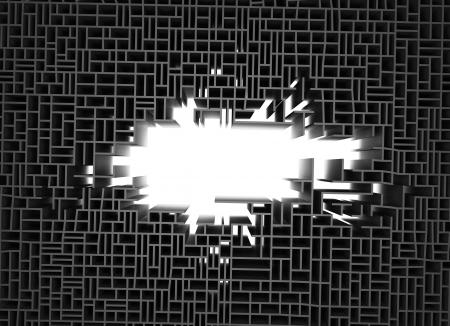 3d render of wall broken background Stock Photo - 21708317