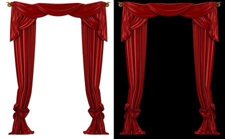 red curtains on a black and white background photo