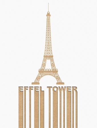 Eiffel tower,  style on Recycle paper concept background photo