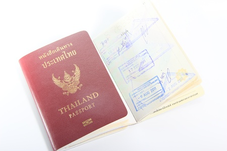 Thailand passport  on white background photo