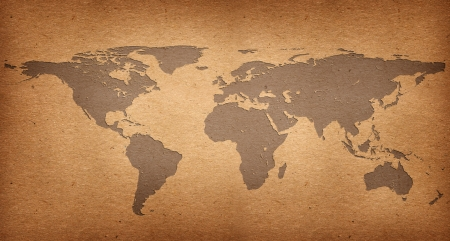 World map of paper recycle concept photo
