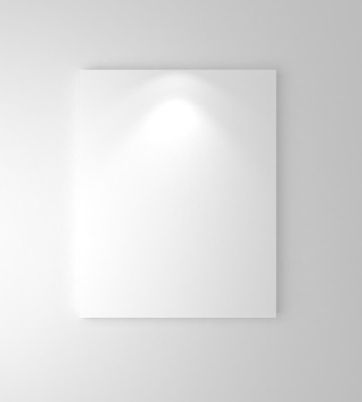 downlight: white frames on  wall  with downlight Stock Photo