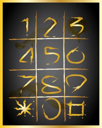 Numbers 0-9 written Vector