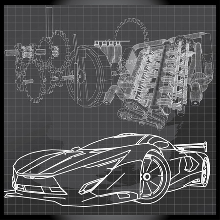 Sports Car Sketch on Backboard Illustration