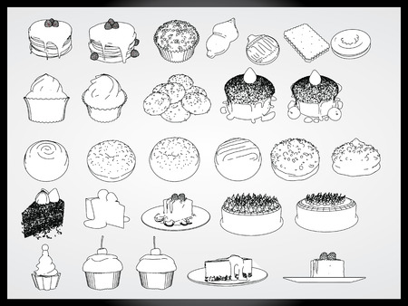 cakes & dessert vector set cartoon concept Vector
