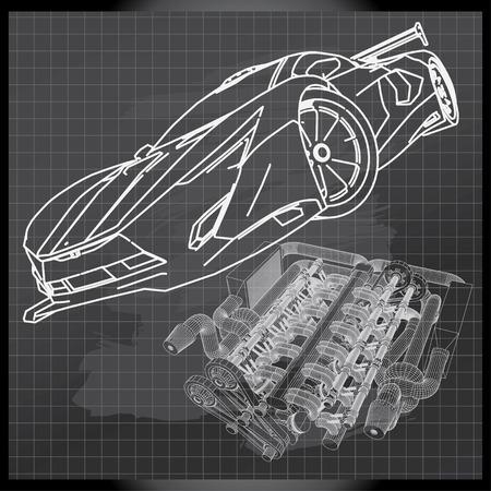 Sports Car Sketch on Backboard Vector