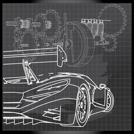 backboard: Sports Car Sketch on Backboard Illustration