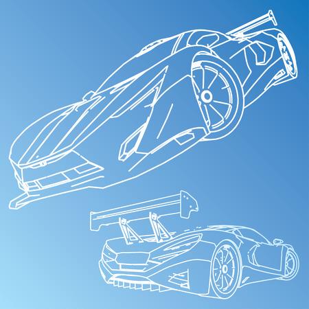 Sports Car Sketch Blueprint Vector