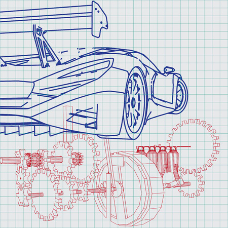 Sports car sketch blueprint royalty free cliparts vectors and 29229247 sports car sketch blueprint malvernweather Choice Image