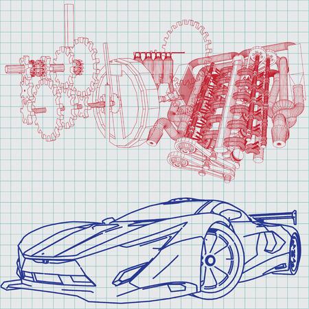 3230 car blueprint stock vector illustration and royalty free car sports car sketch blueprint illustration malvernweather Images