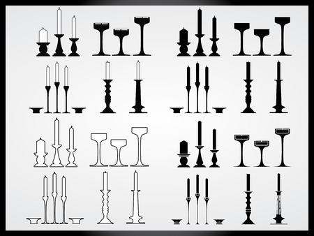 Vector collection of isolated candlesticks Vector
