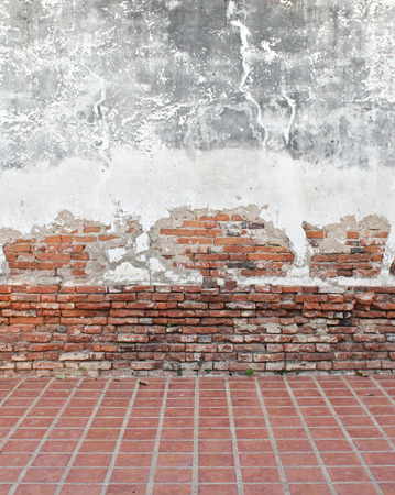 grunge background, red brick wall texture bright plaster wall photo