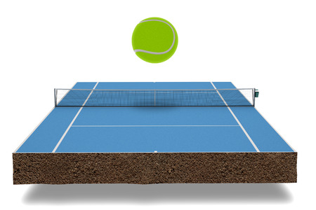 concrete court: Tennis Field isolated on white background Stock Photo