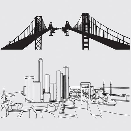 building sketch: Construction building vector sketch concept Illustration