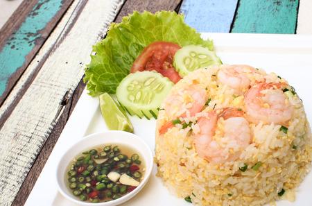 wood table: Shrimp Fried Rice on wood table