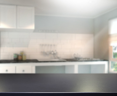 kitchen counter top: Table Top And Blur Interior Background Stock Photo
