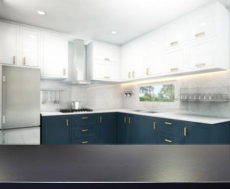 Table Top And Blur Interior Background Foto de archivo