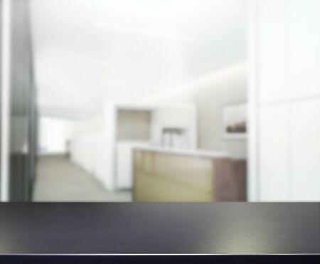 kitchen counter top: Table Top And Blur Office of Background Stock Photo