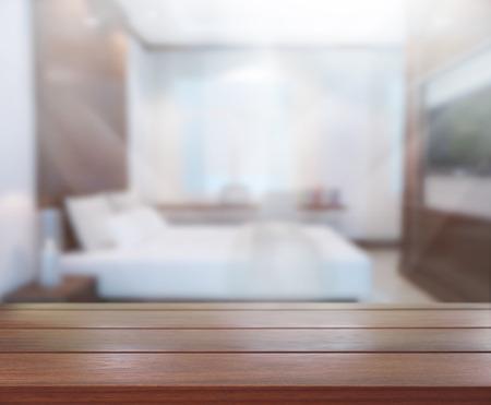 Table Top En Blur Background In de slaapkamer Stockfoto