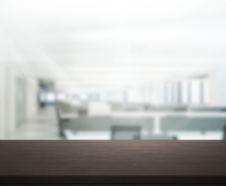 design office: Table Top And Blur Office Of Background Stock Photo