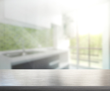 Table Top And Blur Interior of Background Stockfoto