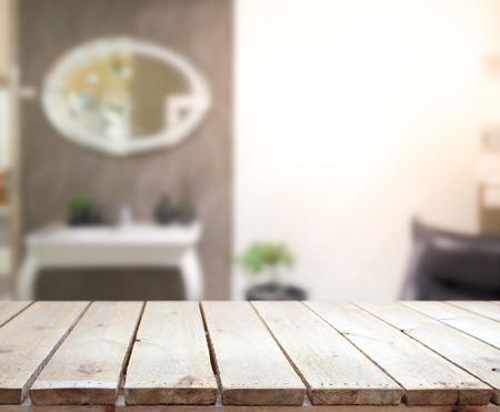 Stolní a rozmazání Interiér pozadí Reklamní fotografie