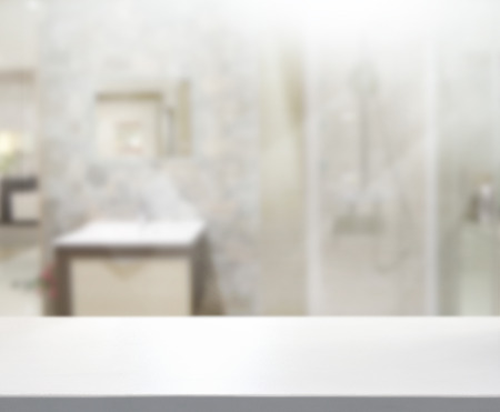bathroom wall: Table Top And Blur Interior of Background Stock Photo