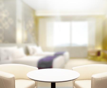 chambre à coucher: Dessus de table et Blur Contexte Dans la chambre à coucher
