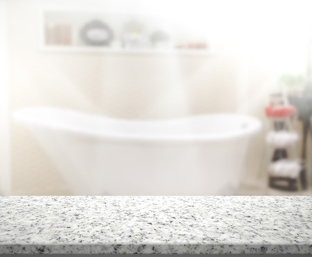bathroom mirror: Table Top And Blur Interior of Background Stock Photo