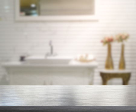 bathroom design: Table Top And Blur Interior of Background Stock Photo