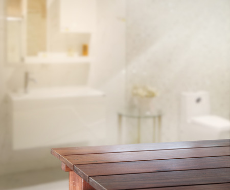 bathroom: Table Top And Blur Interior of Background Stock Photo
